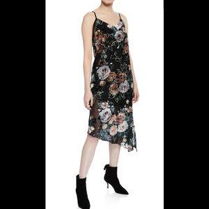 Nanette Lepore Asymmetric Velvet Floral Slip Dress